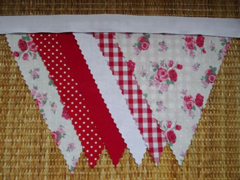 BUNTING Christmas Wedding - Red & Pink Roses, Red, White, Spot & Gingham - 3m/10ft or 5m/16ft